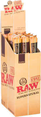 15 Packs of 1 Ea. RAW Rolling Paper Cones Natural Pre-Rolled Supernatural