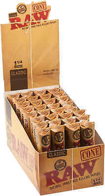 32 Packs of 6 Ea. Classic RAW Rolling Paper Cones Natural Pre-Rolled 1 1/4