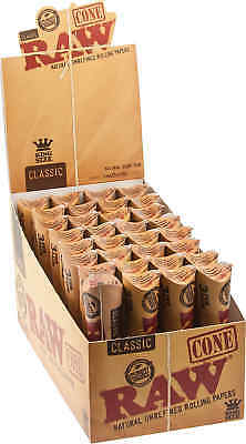 32 Packs of 3 Ea. Classic RAW Rolling Paper Cones Natural Pre-Rolled King's