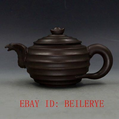 Chinese Yixing Zisha Hand-carved  Sculpture Teapot 21