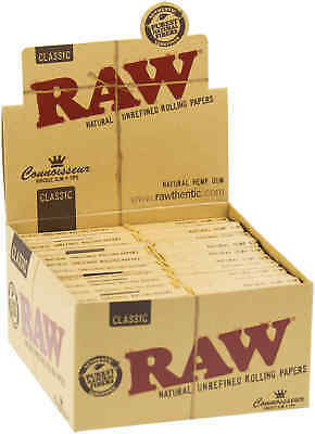 24 Booklets RAW Classic Connoisseur Cigarette Rolling Papers King's & Tips