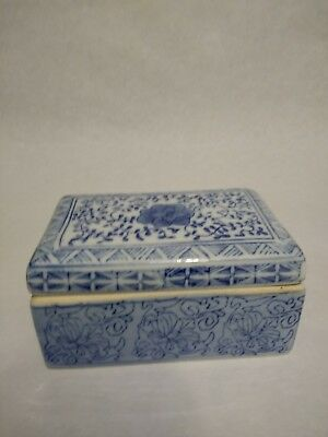 Ceramic blue and white painted trinket box. Made in China