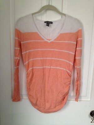 A Pea in a Pod Maternity Women's Size S Peach & White Striped Sweater