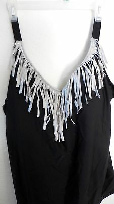 Nwt Gorgeous Woman Within New 1X Black Silver Tassle Swim Suit!!!~2Cute!!!