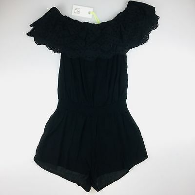 Girls size 10, Seed, black broderie ruffle playsuit / jumpsuit, BNWT