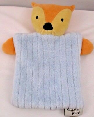 Chick Pea Fox Badger Baby Lovey Blue Tan Security Blanket Plush Toy 9×9 Lovey