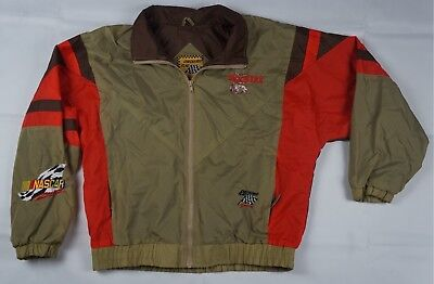 Rare Vintage CHECKERED FLAG SPORTS Hooters NASCAR Racing Jacket 90s Brown Size M