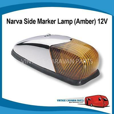"Caravan Side Light Amber Chrome "" Curved "" Narva 12V Trailer Vintage 86350 E0195"