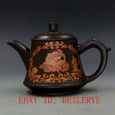 Chinese Yixing Zisha Hand-carved Painted Teapot 27