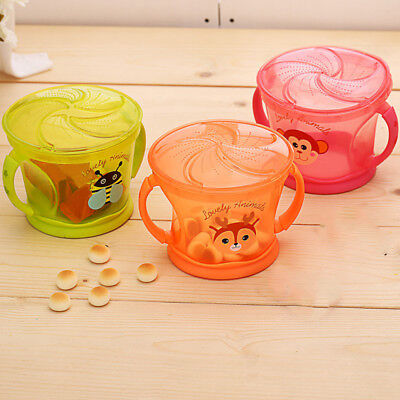 Baby Toddler No Spill Active Snack Bowl Spill-Proof Baby Snack Cup Feeding Cup