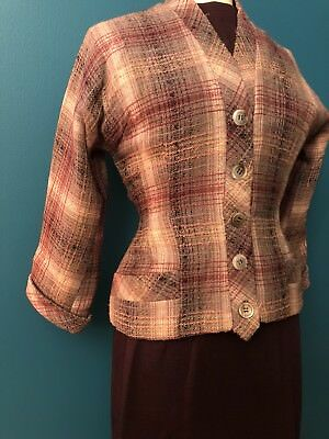 Vintage 40s Made in France Bloomingdales 3 Pc Nipped Waist New Look Skirt Suit S