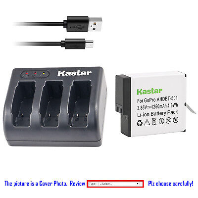 Kastar Battery Triple Charger for GoPro AHDBT-501 & Gopro Hero 5 Action Camera