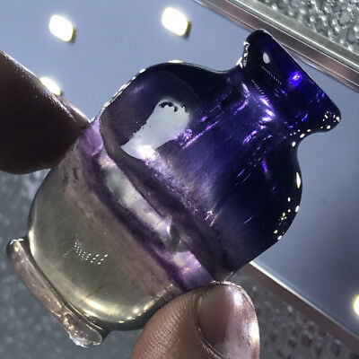51g  Chinese Striped Purple Fluorite Snuff Bottle with Agate Top  27