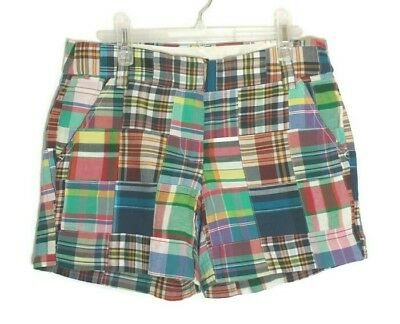 """NWT J Crew Factory Womens Madras Plaid Patchwork Shorts 4½"""" City Fit Size 4"""