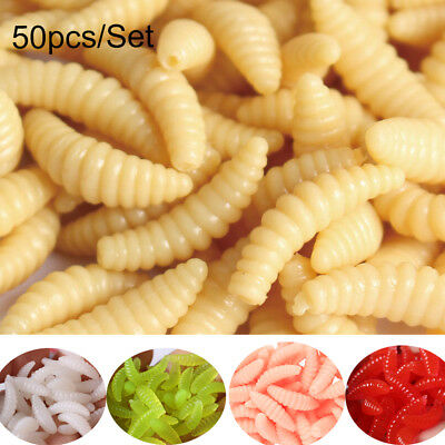 50 Pcs Soft Earthworm Fishing Bait Worm Lures Crankbaits Hooks Tackle Baits