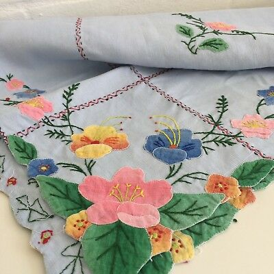 VINTAGE Applique Table CLOTH Blue Sweet Handmade 50's Chic