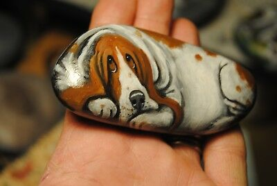Original Painting~Basset Hound~~Dog~Hand Painted~SToNE~River RoCK~Whimsical~art