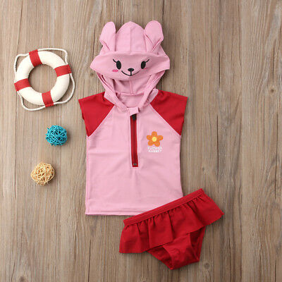 Cute Kid Baby Girls Hooded Swimming Costume Bathing Swimsuit Bikini Set Swimwear