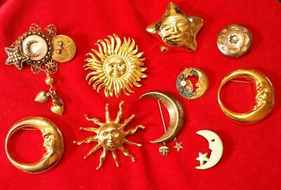 Gorgeous LOT of 10 Antique VINTAGE METAL SUN*MOON*STARS Pins BROOCHES in EVC!