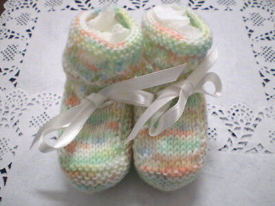 Handmade Knitted Baby  Booties in  4 ply baby yarn B411