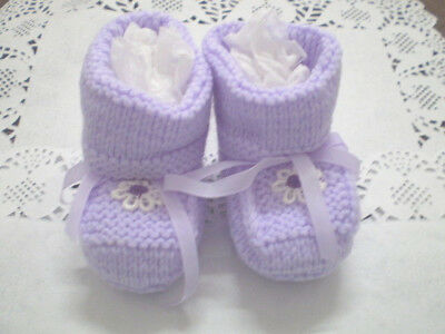 Handmade Knitted Baby  Booties in  Patons 4 ply baby yarn B407