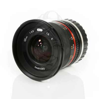 Autentico Samyang 12mm f/2.0 NCS CS Lens f/2 F2 for Sony E Mount NEX (black)
