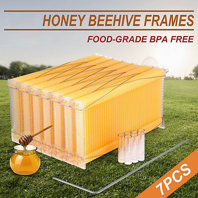 7 x Upgraded Auto Honey Hive Beehive Frames w/ 7 Tubes Beekeeper Beehive Tools