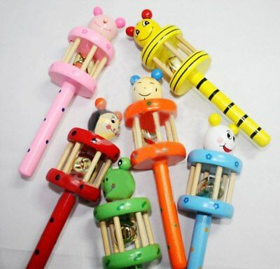 Wooden Handbell Animal Jingle Musical Development Instrument Toy For Baby Kids