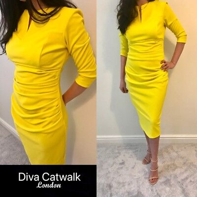 latest fashion best choice cheapest price BNWT DIVA CATWALK London Dress 12/14 Yellow Bryony Wedding ...