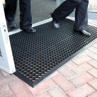 90x150CM Heavy Duty Industrial 14MM Black Rubber Ring Safety Mat W/ Beveled Edge