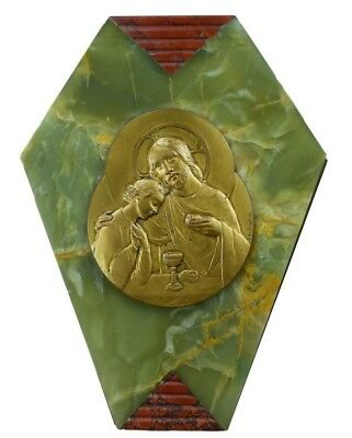 French Art Deco Religious Green Onyx & Griotte Marble Wall Plaque by Monier