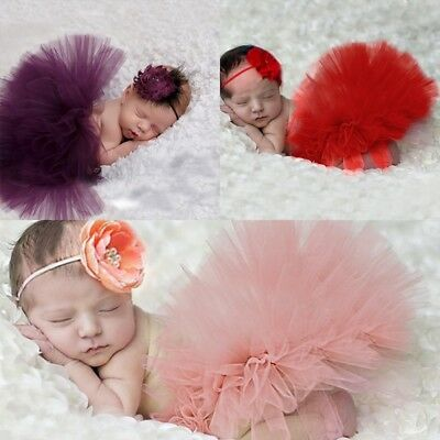 Newborn Baby Kid Girl Flower Headband+ Tutu Skirt Photo Photography Costume Prop
