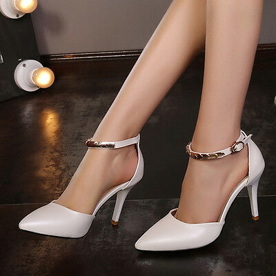 Sexy Women Lady Stiletto Heel Pointy Toe Pump Shoes Bling Ol Work Shoes Size