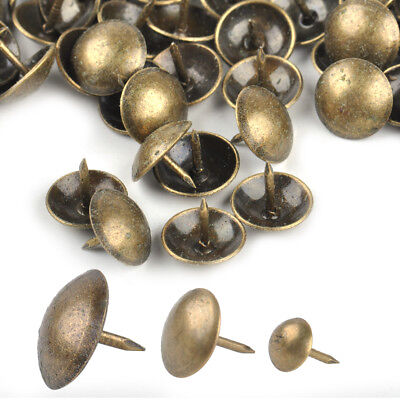 100pcs Antique Brass Round Head Upholstery Sofa Nail Decorative Tack Furniture