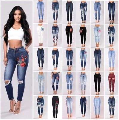 AU Women Fit Stretch Ripped Skinny High Waisted Denim Pant Jeans Plus Size 6-18