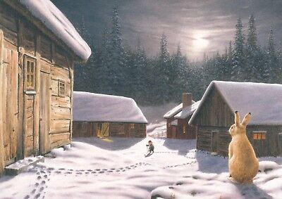 New single Christmas postcard by Jan Bergerlind, gnome, forest, houses, rabbit