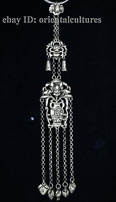 Vintage tribal exotic chinese hand-carved miao silver hanging ornament