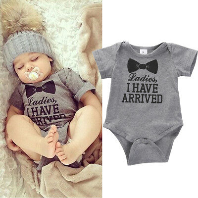 Newborn Baby Boys Ladies I Have Arrived Romper Jumpsuit Outfits Cotton Clothes