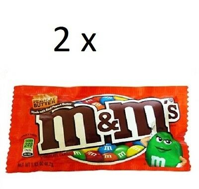 2 x USA M & M's Peanut Butter Milk Chocolate Candy 42.5g each