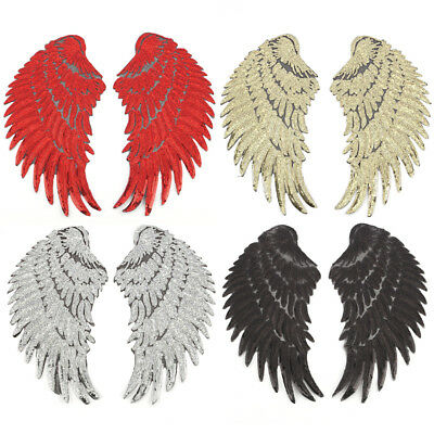 1Pair Big Silver Gold Sequins Feather Wings Patches Applique Embroidered Patch