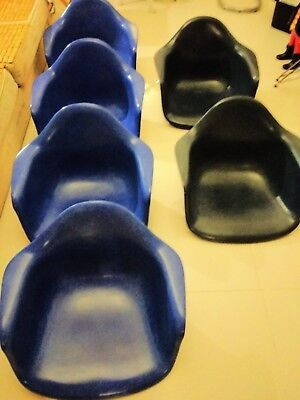 authentic Herman Miller Eames BLUE Fiberglass Armchair arm shell ONLY no-base PP