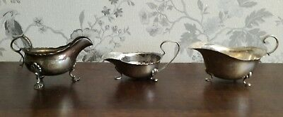 3 Vintage Silver Plated Sauce Boats