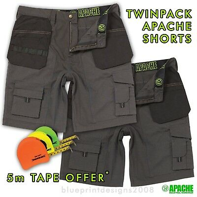 APACHE CHK TWINPACK CARGO / COMBAT WORK SHORTS  WITH  5m HI-VIS TAPE OFFER