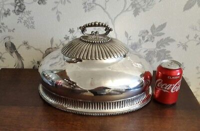 A Large Victorian Silver Plated Meat Cover/ Cloche Dated 1858