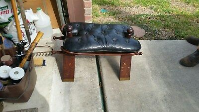 Camel Saddle Stool Vintage Leather Foot Seat Bench Ottoman Wood Leather Cushion
