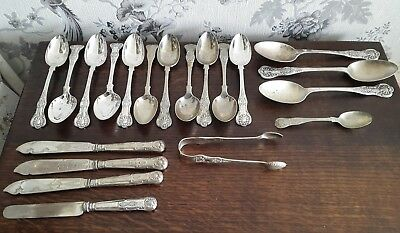 A Job Lot 1.2Kg Antique / Vintage Silver Plated Kings Pattern Cutlery