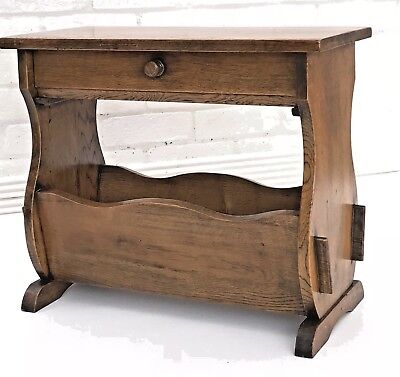 Antique Arts and Crafts style Solid OAK side table magazine rack - can deliver