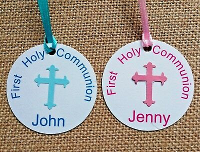 Holy Communion Favour Tags with Ribbon CN1 Baptism Personalised Christening