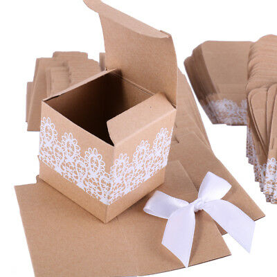 Party Bag Supplies Home, Furniture & DIY 50x Wedding Favour Boxes Candy Gifting Boxes Kraft Paper Square Candy Bags