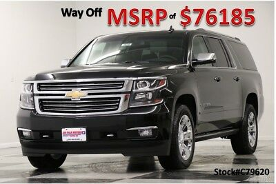 Chevrolet Suburban MSRP$76185 4X4 Premier DVD Sunroof GPS Black 4WD New Navigation Heated Cooled Leather Seats Captains SUV 16 2016 17 Bose Camera